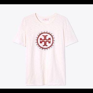 🆕 Tory Burch Demi T Shirt Double T logo sequins